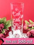 1940年代:お花たちのグラヴィール装飾♪透明ガラスが美しいフラワーベース