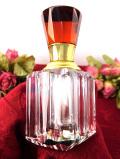 <英国ビンテージ>アートフルなガラス細工♪赤ガラスと透明ガラスが美しいパフュームボトル