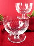 1930年代:きれいなクリスタルガラス♪アートフルなガラス細工が美しい大きなデザートカップ「2個セット」