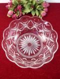 1920年代:立体的なガラスのお花♪分厚いアンティークガラスのとても大きなボウル