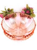1920年代:美しい光のカットたち♪きれいな透明のクリスタルガラスの大きなピンクガラスボウル