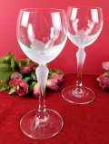 1930年代:アールデコデザイン♪スリガラスと透明ガラスがきれいなクリスタルガラスのワイングラス「2個組」