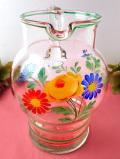 <英国ハンドペイント>1930年代:分厚い透明なアンティークガラス♪明るいお花たちのとても大きなウォータージャグ