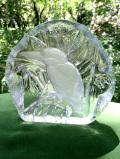 <英国ハンドメイド>1960年代:氷細工のよう♪キラキラ輝くクリスタルガラスの森のカワセミさん