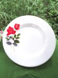 <廃盤レア♪ イギリス・オールドパイレックス>シックなジューン・ローズのミルクガラスの大きなディナープレート