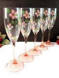1950年代:ピンクガラスのステイが優雅♪ハンドペイントのお花のワイングラス「5個セット」