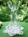 <英国ビンテージ>ガラス細工のお花たち♪クリスタルガラスが美しいアートフルなフラワーベース