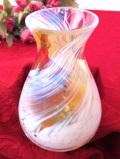 <英国ビンテージ>流れる雲のよう♪オレンジアンバーのアンティークガラスが美しいアートフルなフラワーベース