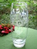 1940年代:たくさんのお花たちのグラヴィール装飾♪クリスタルガラスのとても大きなフラワーベース