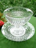 1940年代:きれいなクリスタルガラス♪ガラス細工が美しい大きな光のデザートカップ&ソーサー「2点セット」