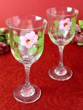 1940年代:愛らしいお花たち♪ステイが優雅なクリスタルガラスのワイングラス「2個セット」