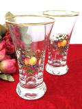 1950年代:明るい果実たち♪金彩も美しいアンティークグラス「2個セット」
