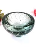 1950年代:気泡のお花たち♪超分厚いスモーキーグリーンのアンティークガラスのボウル