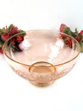 1940年代:きれいなオレンジアンバーのクリスタルガラス♪優雅なお花たちの大きなガラスボウル