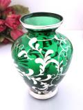 <イタリア製>優雅なベネチアンガラス♪緑ガラスと銀彩のお花が美しいフラワーベース