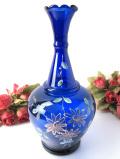 1930年代:ハンドペイントのお花たち♪青ガラスが美しいアートフルなフラワーベース