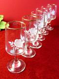 1940年代:愛らしい白いお花♪優雅な透明ガラスのワイングラス「6個セット」