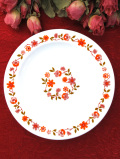 <フランス製:arcopal>愛らしい野の花たち♪ぽったりとしたミルクガラスのケーキ皿