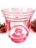 <英国ビンテージ>ぽったりとしたピンクガラス♪ハンドメイドの美しいアートフルで大きなフラワーベース