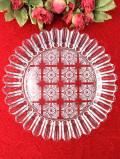 1950年代:光のお花たち♪直径25.3cmぽったりとぶ厚いアンティークガラスの大きなプレート