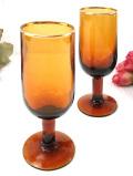 1930年代:優雅なアンバーガラス♪金彩のふちどりがきれいなワイングラス「2個セット」