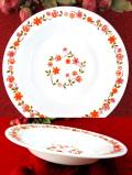 <フランス製:arcopal>明るいお花たち♪ぶ厚いミルクガラスの大きなスープ皿