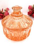 1940年代:水晶細工のよう♪キラキラ輝くオレンジガラスのふた付きBOX