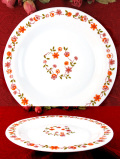 <フランス製:arcopal>明るいお花たち♪ぶ厚いミルクガラスの大きなディナープレート