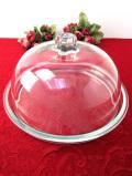 <イタリア製>ぽったりと分厚いアンティークガラスのふた付の美しいケーキドーム
