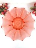 1940年代:ピンクアンバー色のアンティークガラス♪直径30cmのアートフルな大皿