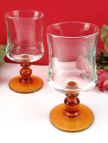 1960年代:優雅なガラス細工♪アンバーガラスが美しいワイングラス「2個セット」