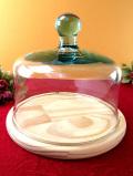 <デッドストック:未使用品>ぽったりとぶ厚い透明ガラス♪直径25cmとても大きなケーキドーム