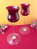 1950年代:素晴らしく長いステイ♪アートフルな赤ガラスの大きなワイングラス「2個セット」