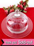 1910年代:エドワーディアン時代♪優雅な植物模様の上品なアンティークガラスのふた付きディッシュ