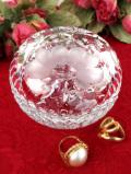 1940年代:立体的なガラス細工♪愛らしいお花のクリスタルガラスのふた付きのトリンケットBOX