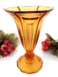 1940年代:優雅なアンバーガラス♪とても大きなお花のようなアートフルなフラワーベース
