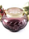 1950年代:レア♪紫色のクリスタルガラスが美しいリーフ模様の大きなフラワーアレンジメントボウル