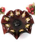 <英国ハンドメイド>1930年代:優雅な赤紫色の英国アンティークガラス♪大輪の光のお花のようなガラスボウル