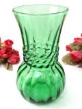1940年代:透明な緑ガラス♪立体的なガラスの流れが美しいフラワーベース