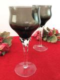 <英国ミッドセンチュリー>ステイのねじりん棒のガラス細工が美しいグレーガラスの上品なワイングラス「2個セット」