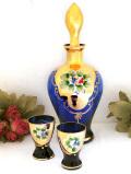 <イタリア製>ムラノガラス♪輝く紫ガラスと金彩が美しいリキュールグラス&デカンタ「3点セット」