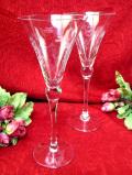 <英国ミッドセンチュリー>野の花たちのグラヴィール装飾♪優雅なフォルムの大きなシャンパングラス「2個セット」
