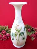 <英国ミッドセンチュリー>白いミルクガラス♪ロマンチックでとても大きなフラワーベース