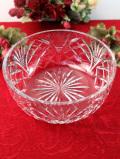 1940年代:光のお花のようなクリスタルガラス♪立体的なガラス細工がきれいなとても大きなボウル