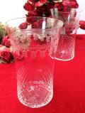 1930年代:小花たちのガラス細工♪英国ハンドメイドのアンティークグラス「2個セット」