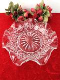 1930年代:優雅な英国アンティークガラス♪大輪の光のお花のようなガラスディッシュ