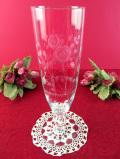 1940年代:グラヴィール装飾のバラのお花♪クリスタルガラスが上品な大きなフラワーベース