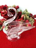 <英国ハンドメイド>キラキラ輝くクリスタルガラスの白鳥さんの大きめ小物入れ