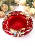 <イタリア製>きれいな赤色のムラノガラス♪金彩のお花たちがきれいなアシュトレイ