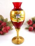 <イタリア製>優雅なムラノガラス♪たっぷりとした金彩と立体的なお花が美しい赤ガラスのフラワーベース